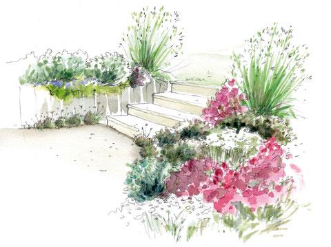 Escalier fleuri (100 Idées Jardin et Editions Marie-Claire)