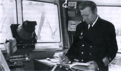 Слабожанин Н.Н. в рубке теплохода «Кронштадт». 60-е годы