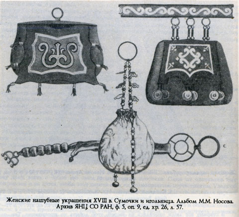 Женские нашубные украшения 18 в. Якутия