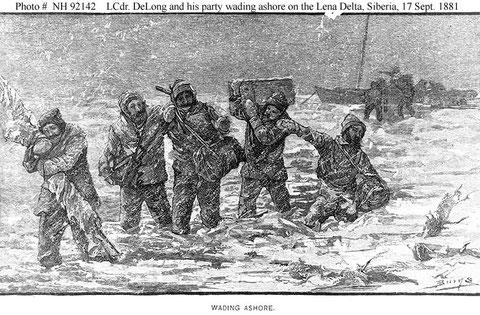 Переход экипажа с яхты на льдину