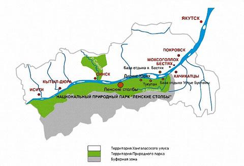 карта Ленских столбов в Якутии