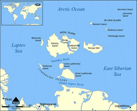 Карта Новосибирских островов