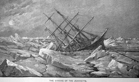 Гравюра Т. Джордж Эндрю. Гибель яхты «Джаннетт».