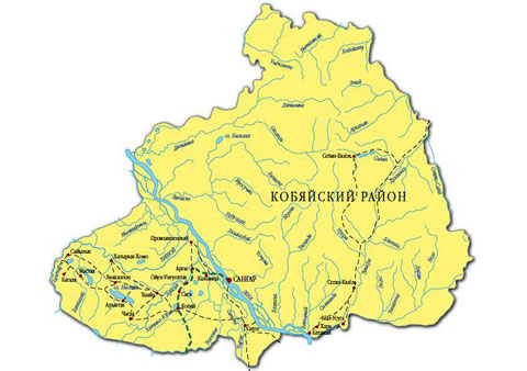Карта Кобяйского района Якутии