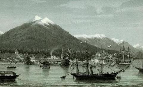 Новоархангельск (Ситка). Литография П. Смирнова 1863 г.