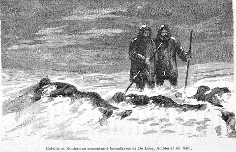 Мельвилль и Ниндерман среди замерзших тел Де-Лонга, Амблера и Ах-Сам