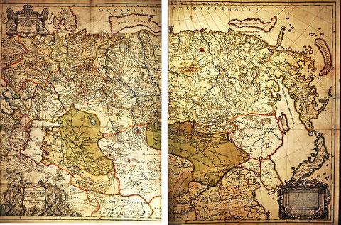 Карта России, составленная Страленбергом в Сибири.1725
