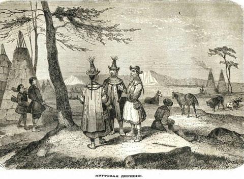 Якутская деревня. Изображение из книги 18 века