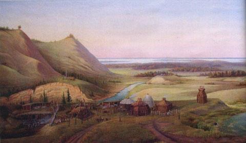 Картина Носова Вид на р. Куллатыы. Поселение якутов-скотоводов до XVII в.