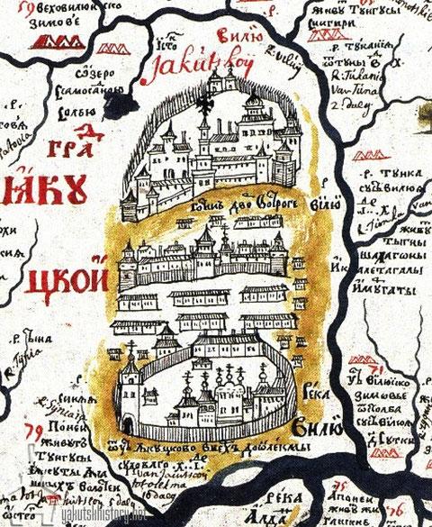 Черт. 4. г. Якутскъ въ самомъ концѣ XVII вѣка. (По Семену Ремезову)