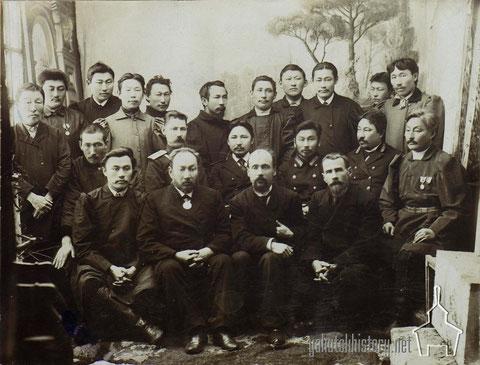 Участники съезда, посвященного вопросам землепользования. Якутск, февраль 1902 г.