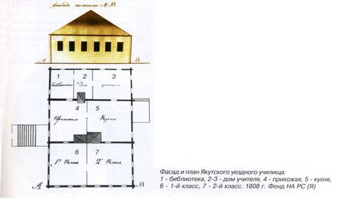 Фасад и план Якутского уездного училища