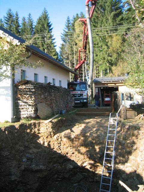 Bau einer Güllegrube