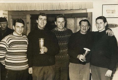 Die Stadtmeister 1963 v.l. Pracherstorfer Karl jun., Pilzweger Horst, Kessel Helmut, Obermair Alois sen. und Hübsch Wilhelm