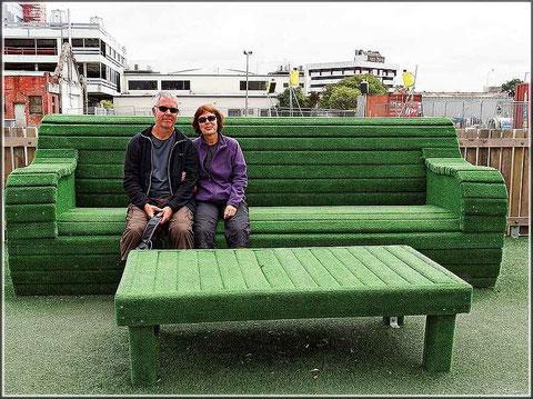 Abschied von Neuseeland (im Hintergrund Baustelle Christchurch)
