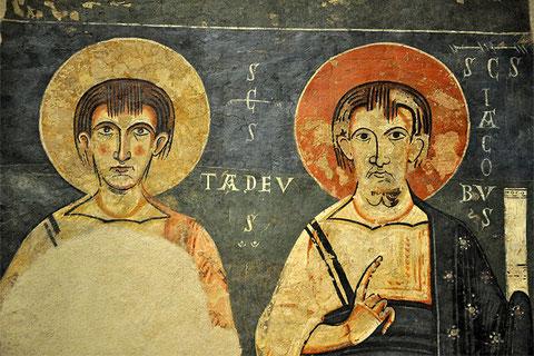 Pintura de Ager:Apóstoles Tadeo y Santiago, finales del XI y principios del XII.Procede del ábside central de San Pedro de Ager, Lérida.De inspiración italo-bizantina.