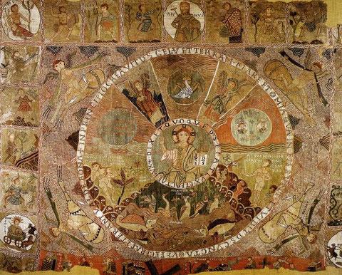 Tapiz de la Creación del Mundo,bordado sobre lana,S XII, Tesoro de la Catedral de Gerona