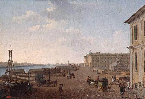 El malecón de la isla Vasilievski y la Academia de Bellas Artes. Óleo sobre lienzo. Benjamin Patersson.