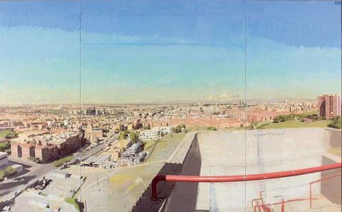 Madrid desde la Torre de Bomberos de Vallecas,1990-2006, su magia lumínica es imponente, igual que su tamaño.