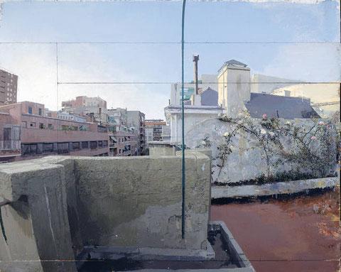 """Terraza de Lucio,1962-1990,una de las pinturas más reveladoras del artista.Es un rompecabezas de 5 trozos de madera,agregados sucesivamente según el proceso de creación..""""Nunca he hecho bocetos.."""" dice el artista"""