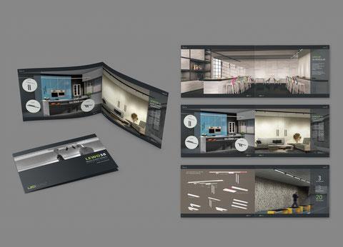Beispielseiten einer Leuchten-Broschüre, die 3D-Renderings zeigen