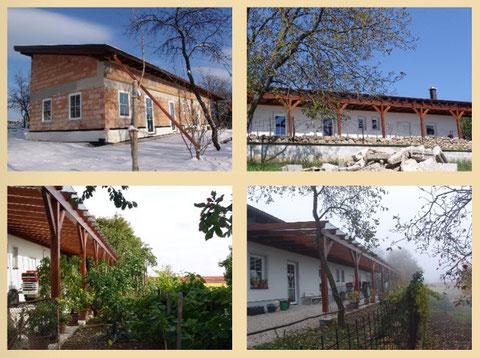 Das Haus für die Jugendbetreuung mit Küche, sanitären Einrichtungen, Aufenthaltsraum und 100 qm überdachte Südterasse für Arbeiten im Freien.