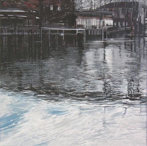 Giorgios Saltaferos Am Ufer, Acryl 40 x 40, 2016