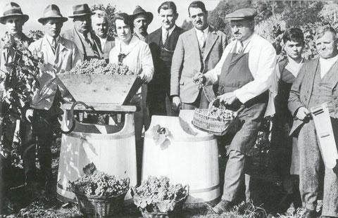 Weinbauverein 1931 (von links nach rechts) Adolf Barben, Hans Barben, Johann Trachsel, Walter Kasser, Frieda Trachsel,  Fritz Schneider, Eduard Aeberhard, Emil Marty, Adolf Seelhofer, Kurt Kasser und Eduard Lörtscher.