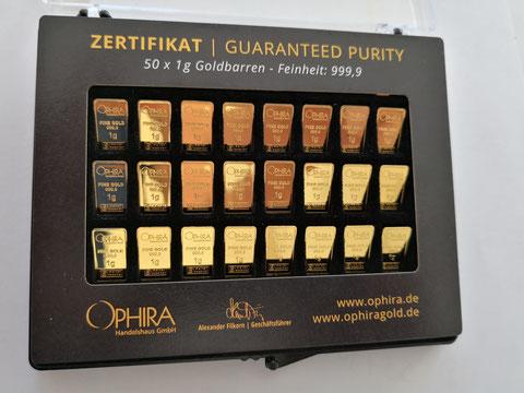 OPHIRA Goldbarren 50 mal 1 g Feingold