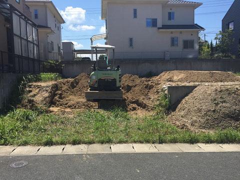 ビルトインガレージ部分の地盤掘削