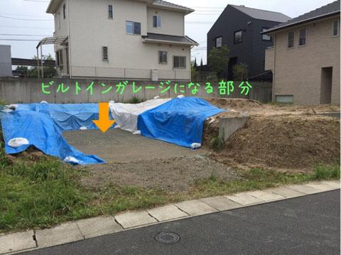 ビルトインガレージ部分の地盤掘削完了