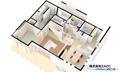 1階~中2階 鳥瞰パース図