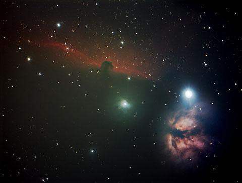 Der Pferdekopf mit Flammennebel im Gürtel des Orions - 39x80s - Aufgenommen am 29.01.2016 in der Sternwarte Flumenthal