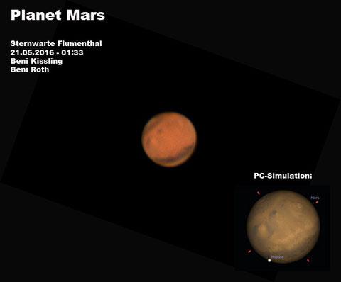 Der Planet Mars aufgenommen am 21.05.2016 in der Sternwarte Flumenthal