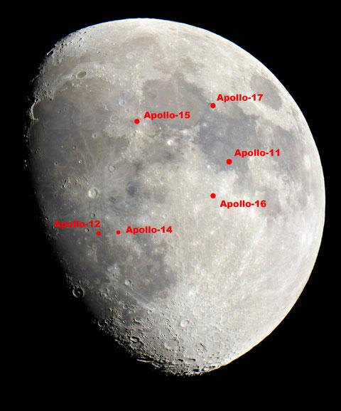 Sämtliche Landeplätze der US-amerikanischen Apollo-Mondlandefähren auf dem Foto markiert