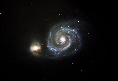 Die Galaxie M51 in den Jagdhunden - aufgenommen am 12. März 2015; 19x300s