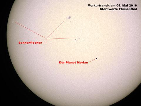 Der Merkurtransit vom 09. Mai 2016 fotografiert von der Sternwarte Flumenthal aus - Pentax 75 SDHF mit ASI-120 (ca. 8ms, 100-150 Frames)