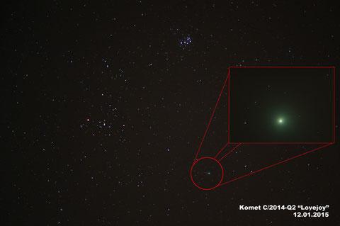 Der Komet C/2014-Q2 Lovejoy am 12. Januar 2015 zwischen Plejaden und Hyaden (13x60s CCD + 1x8s mit Nikon D300s)