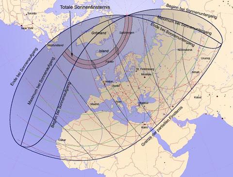 Die Sichtbarkeit der SoFi über Europa - man beachte den Kernschatten zwischen Island und Skandinavien