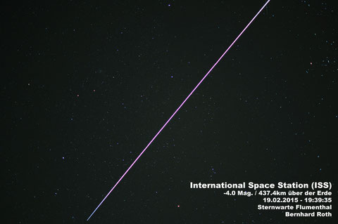 Die Internationale Raumstation ISS am 19. Februar 2015 fotografiert - 6x6 Sekunden, Blende 1.8