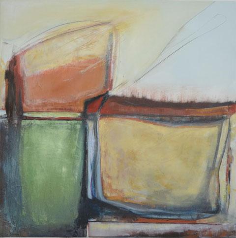 Andrea Ridder, O.T. 14-04-06, Öl auf Leinwand, 100 x 100 cm