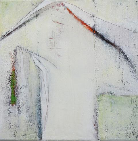 Andrea Ridder, Ohne Titel, Öl-Mischtechnik auf Holz, 40 x 40 cm, 2019