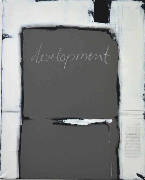Andrea Ridder, Development, Acry- und Tafelfarbe auf Leinwand, 40 x 50 cm, 2017