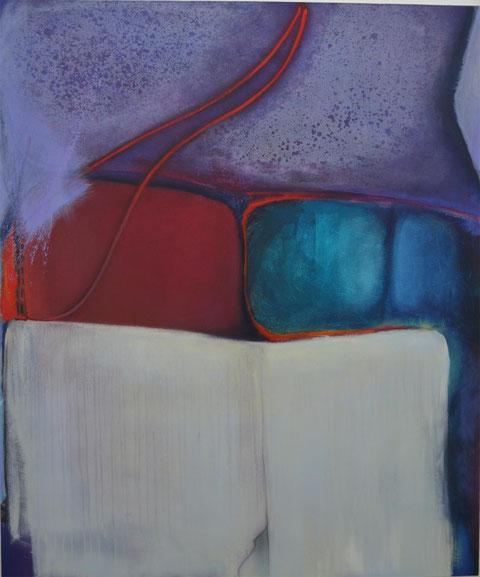 Andrea Ridder: ligne rouge, 13-01-04, 100 x 120 cm