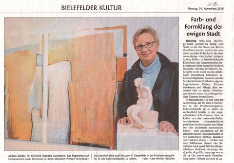 Andrea Ridder Presseartikel, Westfalenblatt Bielefeld, 14.11.2016