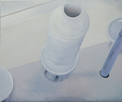 Andrea Ridder, Spule, 100 x 120 cm, 2016, Acrylmischtechnik, Bindfaden,