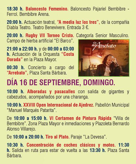 Programa de las Fiestas del Cristo en Bembibre