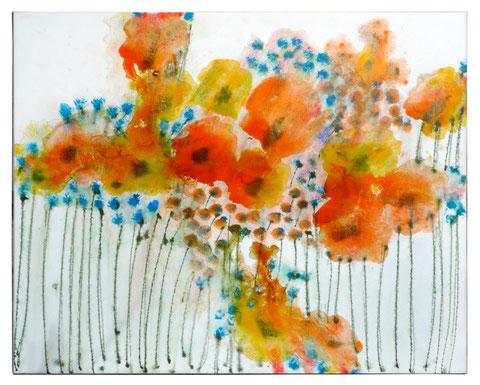 """""""Mohn 2"""", Acryl auf Leinwand,  80 x 100 cm, Verkauft."""