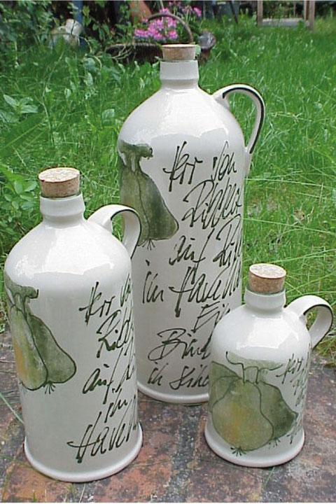 Flaschen mit Griff,  0,5/1,3/2,5 Liter/ 29,50/36,50/42,50 €