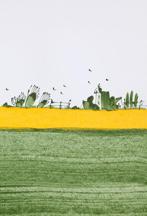 """Acrylfarbe """"Havellandwiese"""", auf Leinen, 50x40 cm"""